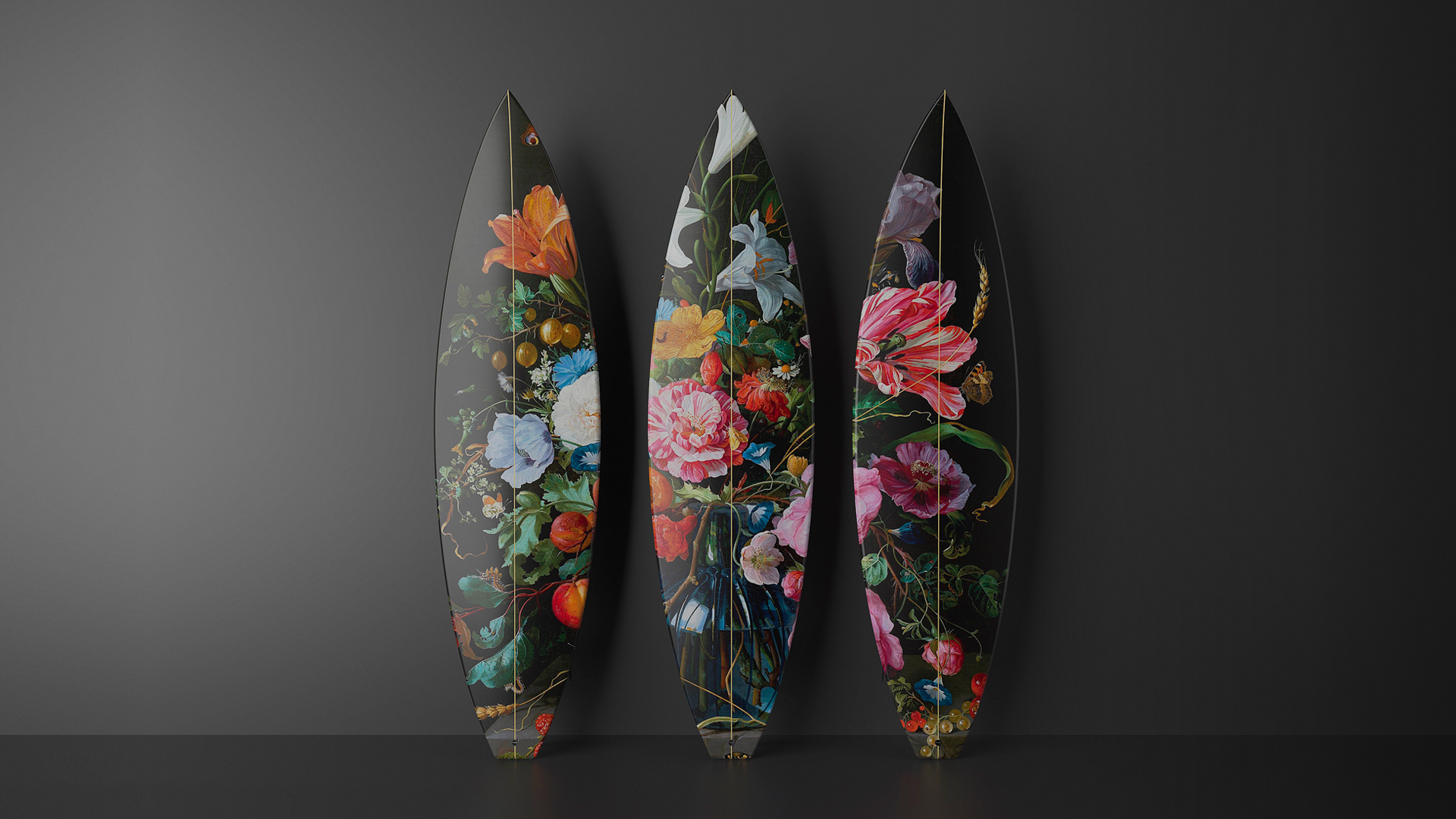 Flowers skateboard art